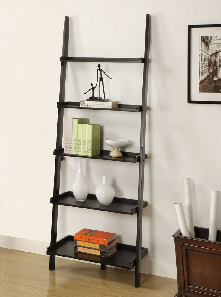 Contemporary Bookshelf And Desk With Black Wood Finish