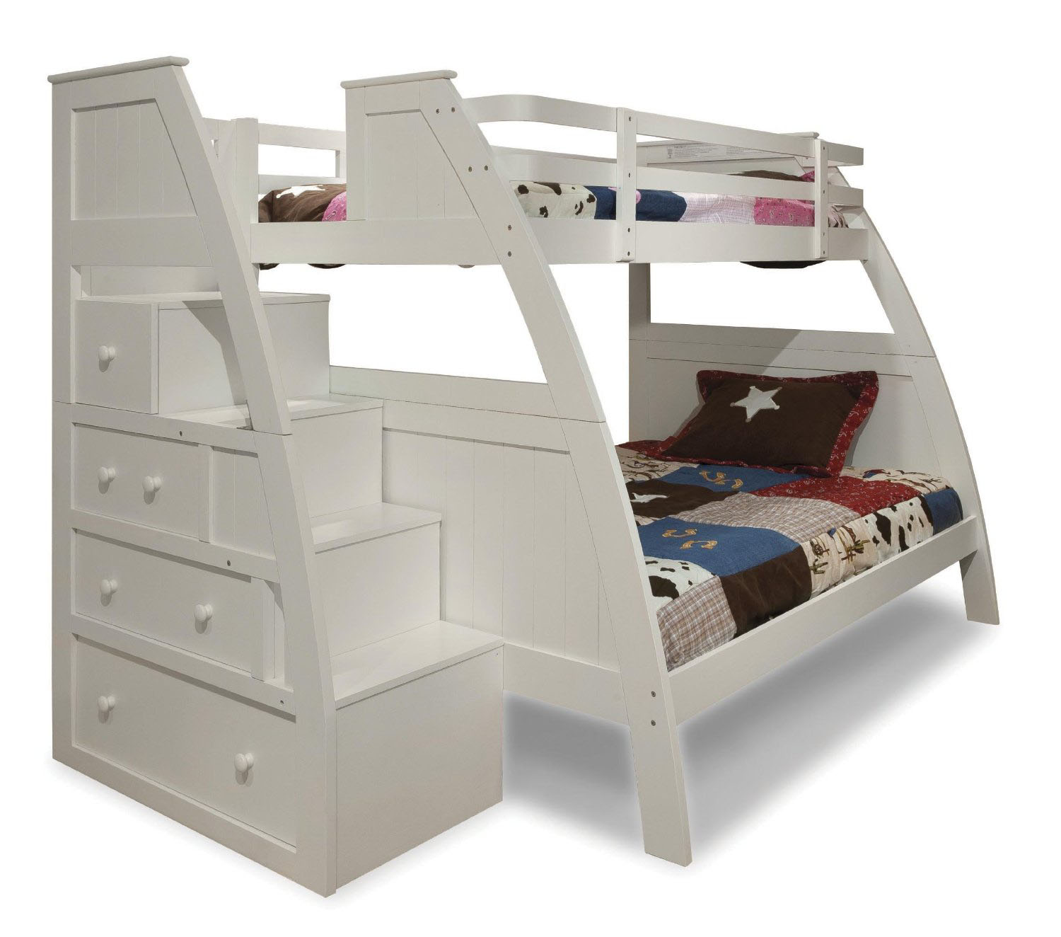 Buy Neutron Bunk Bed With Stair Storage White from our Storage Beds ...