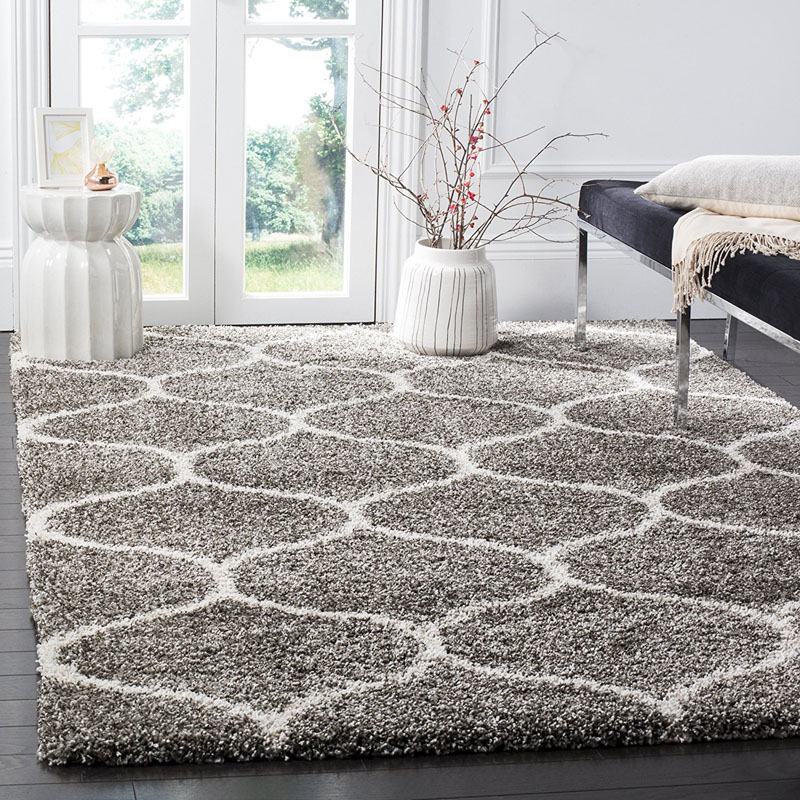 Grey and Ivory 8x10 Shag Area Rug