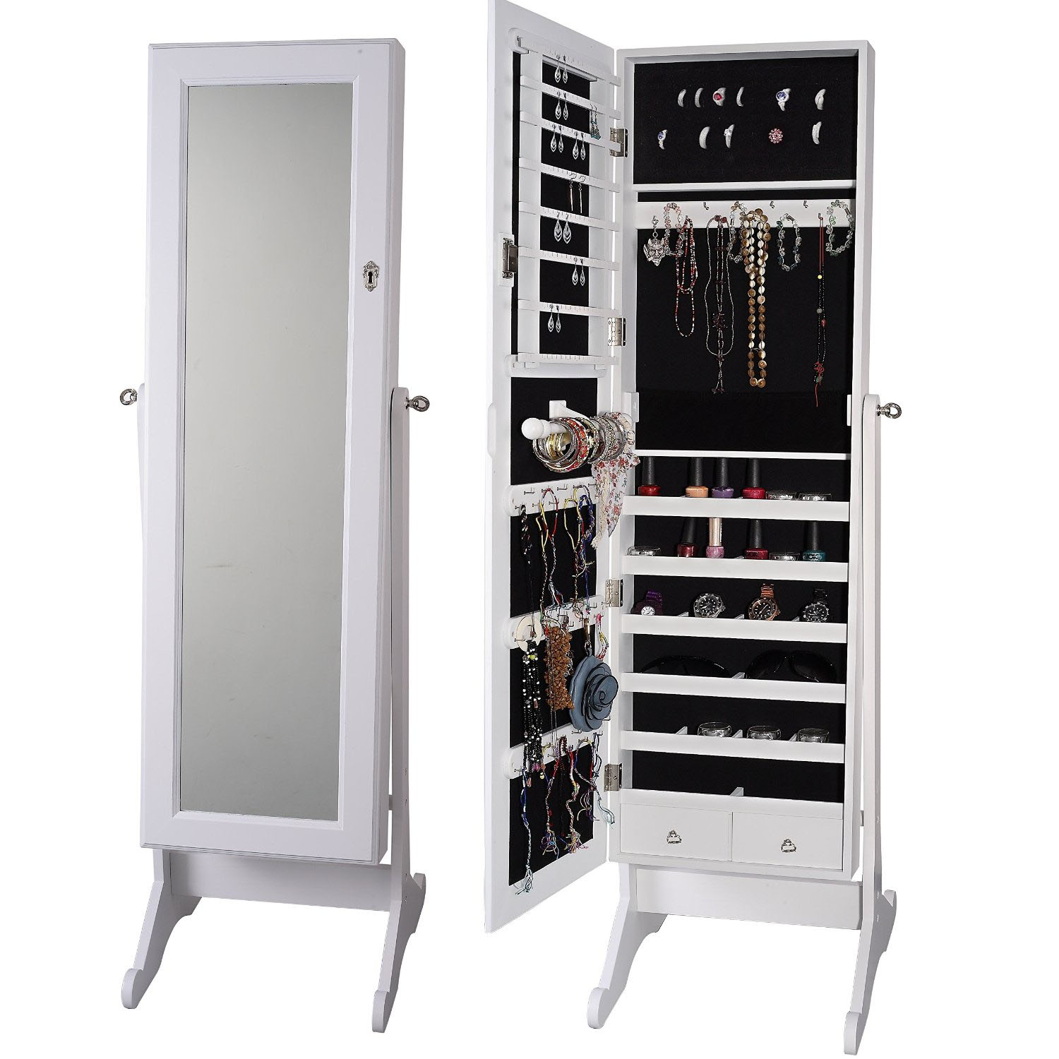 Jewelry armoires home decorator shop for Mirror jewelry cabinet