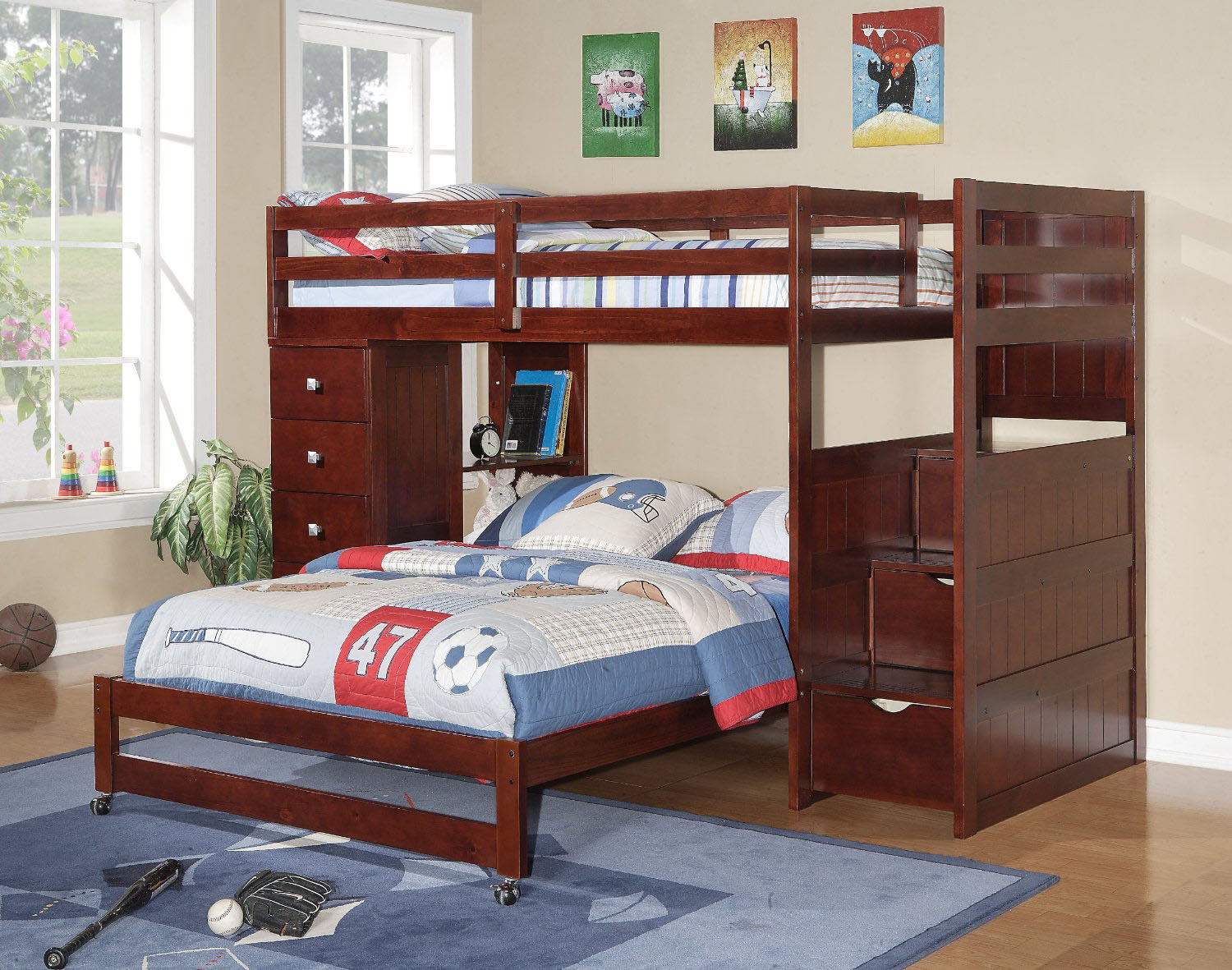 Twin Over Full Stairway Loft Bed