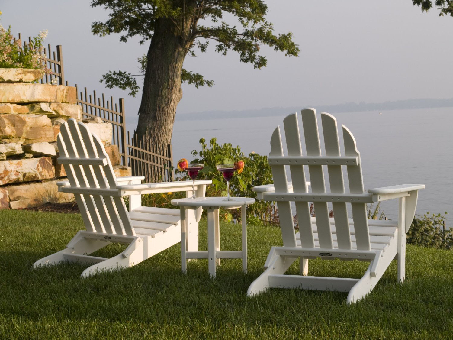 Elegant White Adirondack Chairs Set