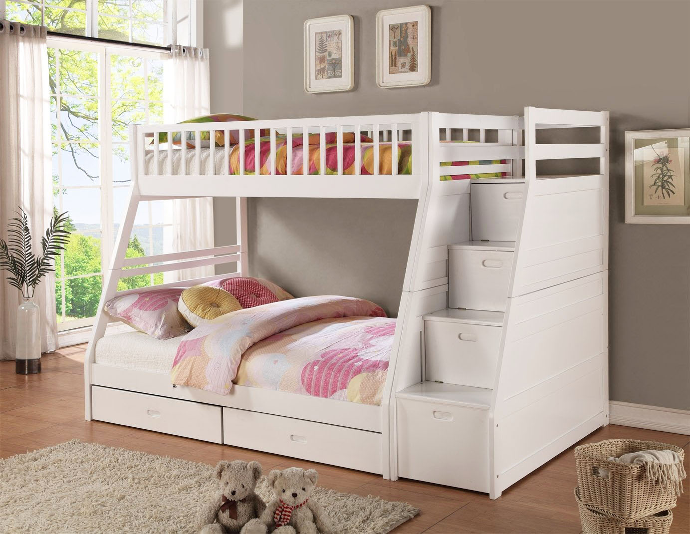Practical Kids Bunk Beds With Stairway Storage Home Decorator Shop
