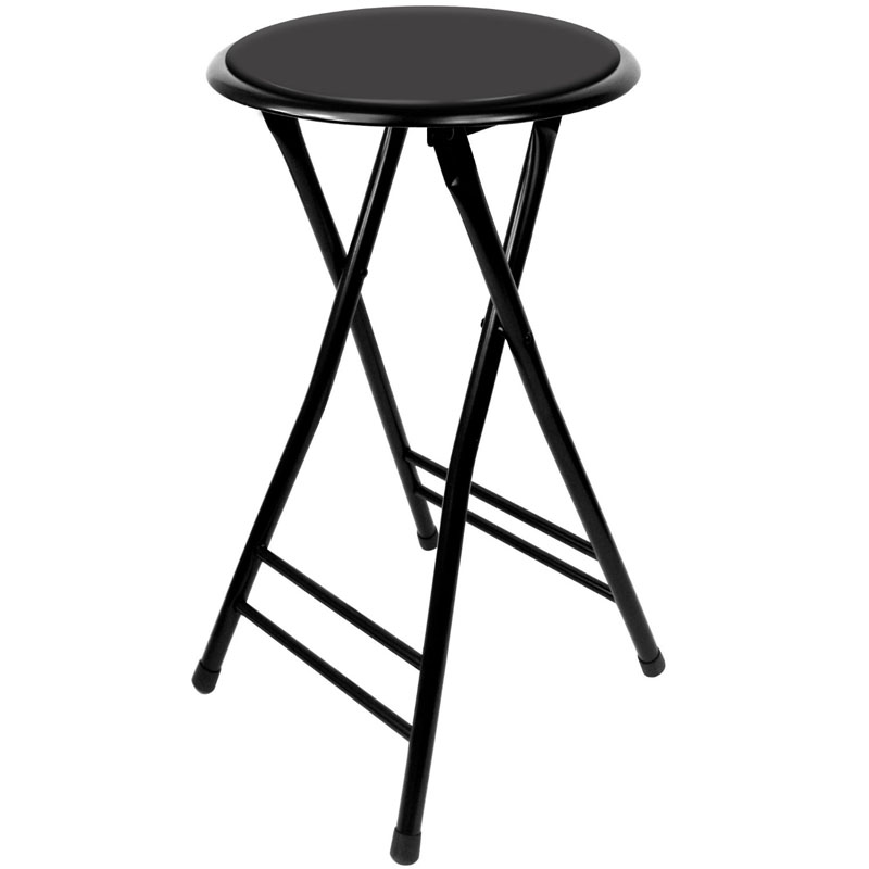 "24"" Black Cushioned Folding Stool"