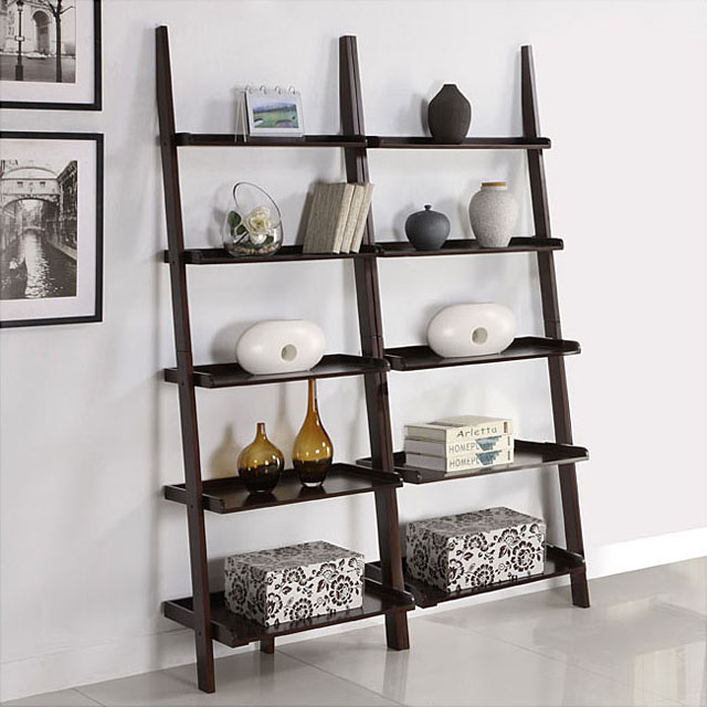 5 Tier Leaning Bookshelves