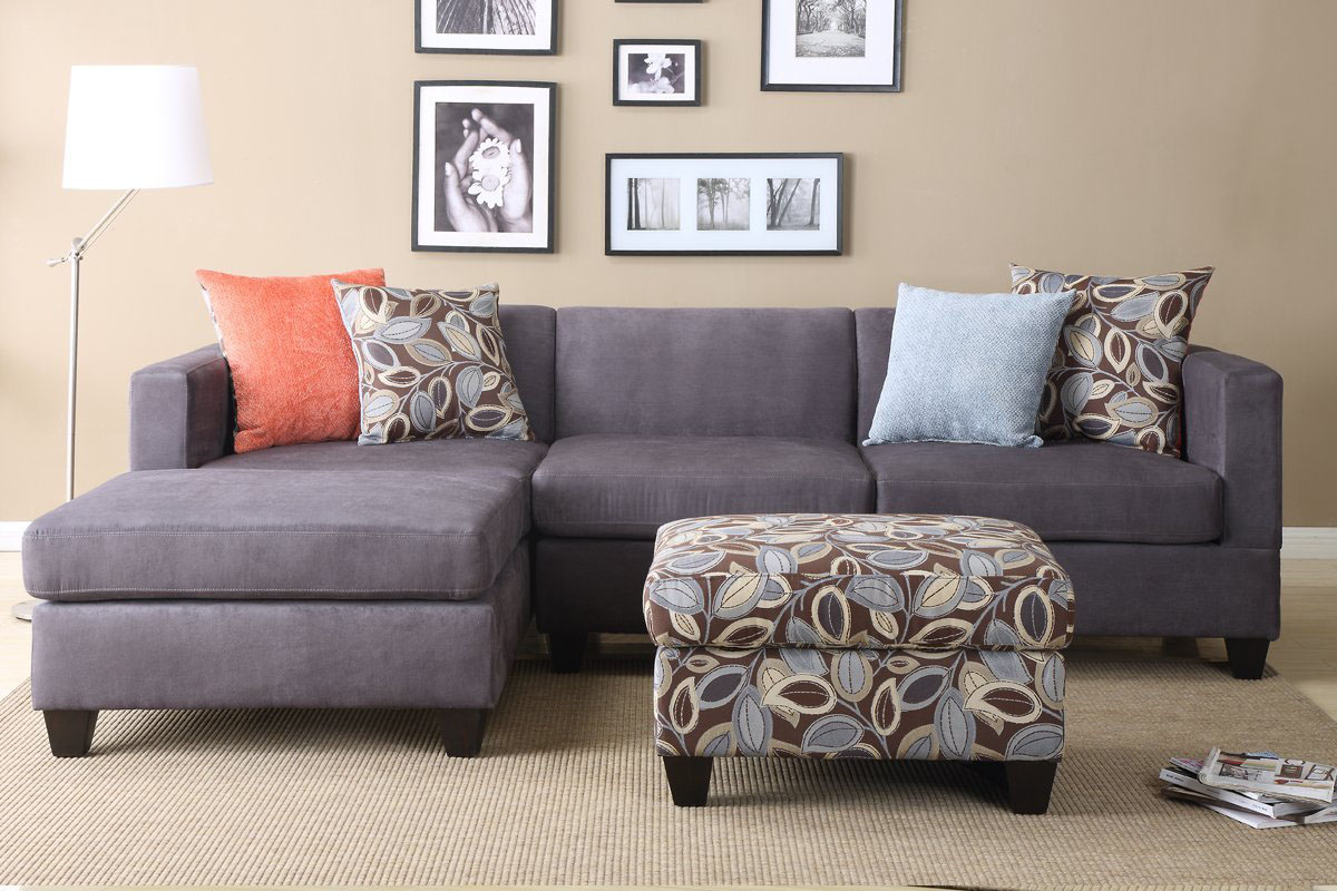 Sectional Sofa with Ottoman and Accent Pillows