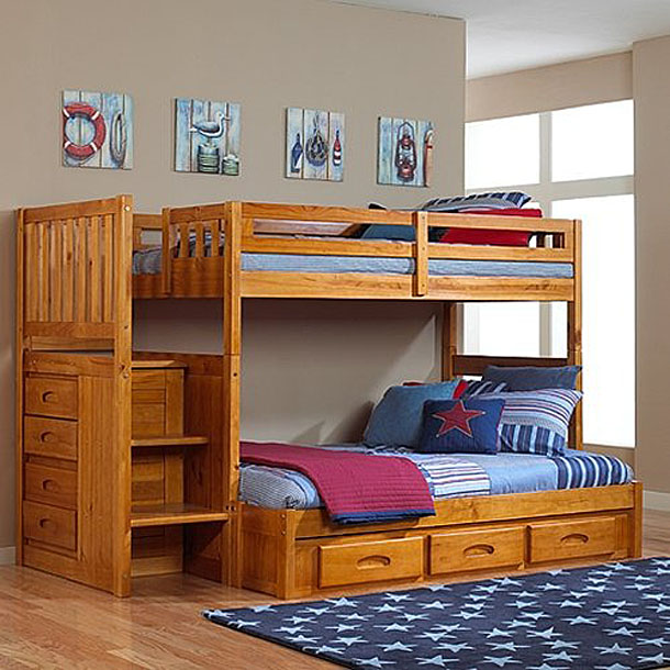 Twin Over Full Bunk Bed With Stairs