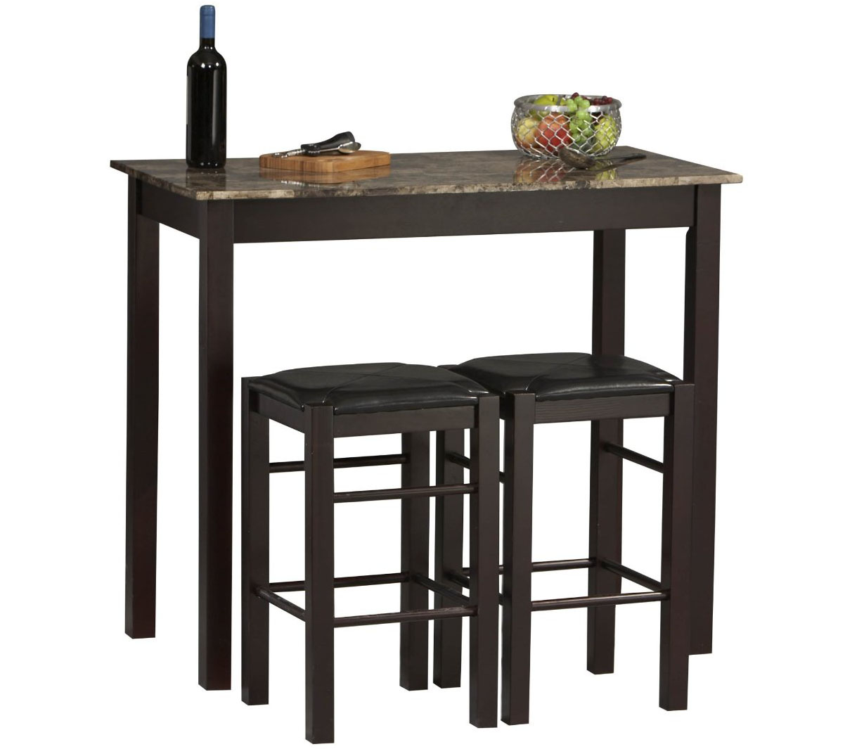 Rectangular Bar Table Set with Stools