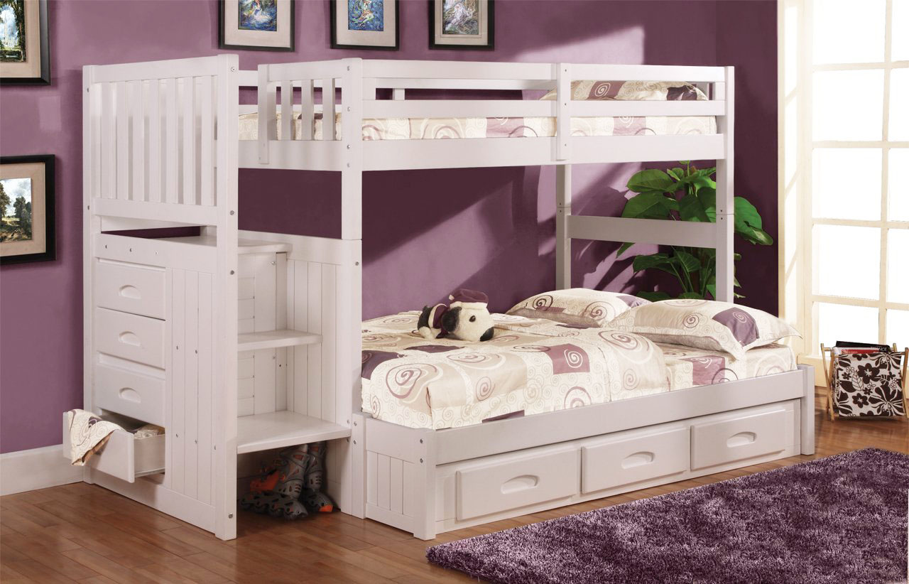 White Bunk Beds With Stair Stepper