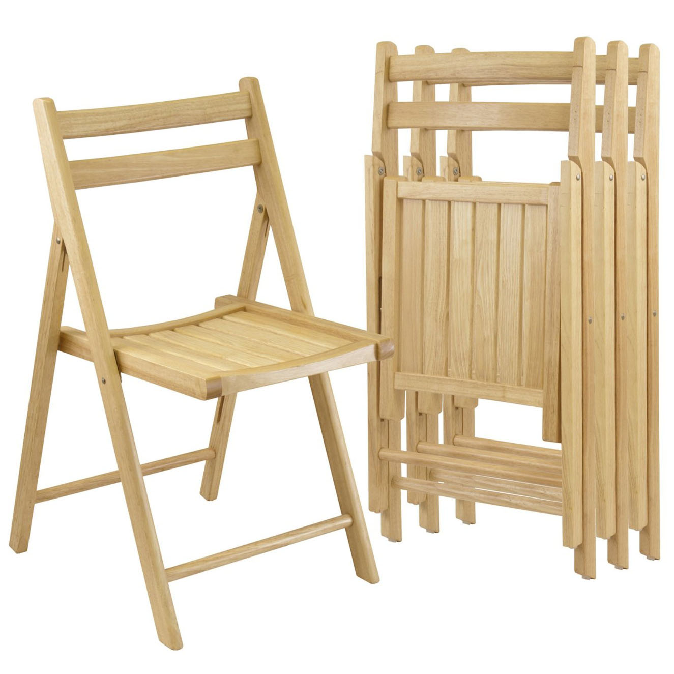 Winsome Natural Finish Wood Folding Chairs